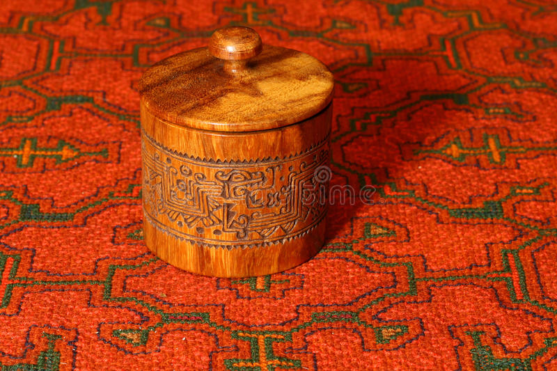 Carved box from South America royalty free stock photography