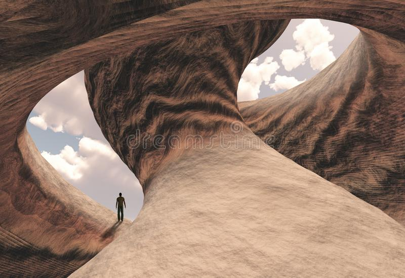 Carved canyon. Lonely man in carved canyon rock. Human elements were created with 3D software and are not from any actual human likenesses stock illustration