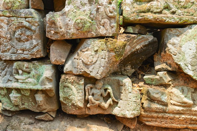 Carved decorations on stones Banteay Kdei temple Siem Reap Cambodia. Carved decorations on stones in Banteay Kdei temple complex, Siem Reap, in Cambodia stock images