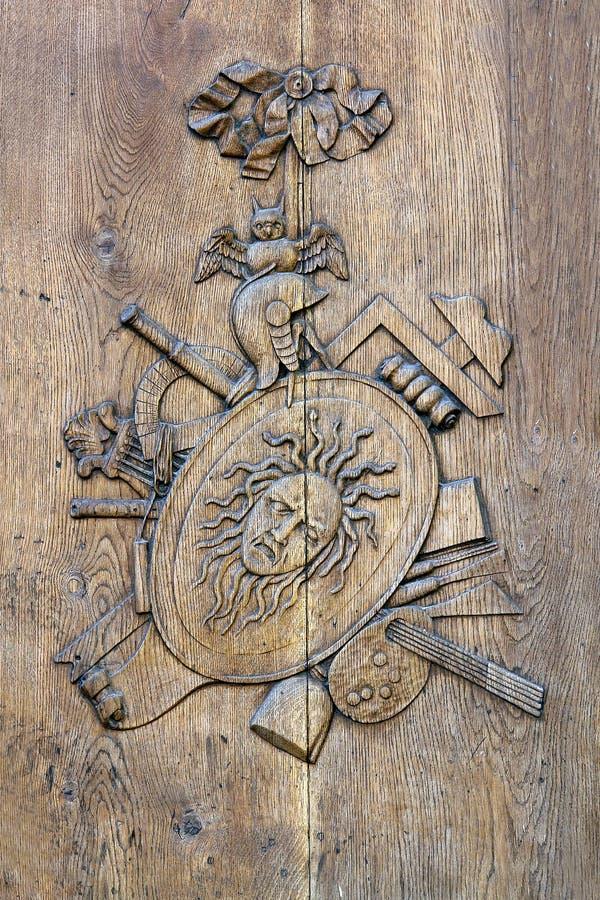 Carved door stock photo