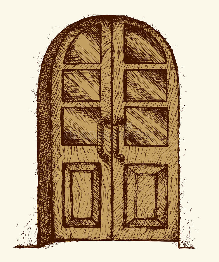 Download Carved Door With Glass. Vector Drawing Stock Vector   Illustration  Of Build, Home