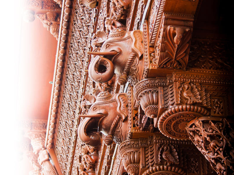 Carved elephant wood architecture detail stock photos