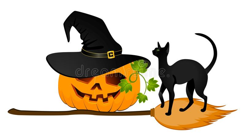 Carved face of pumpkin. The carved face of pumpkin glowing on Halloween and black cat vector illustration