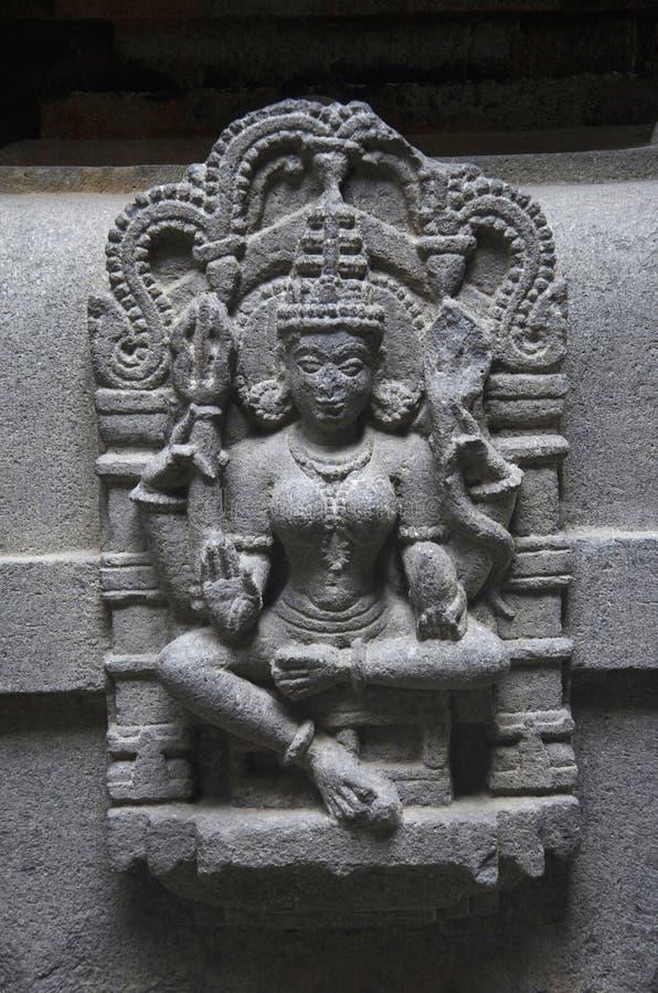 Carved figure of goddess, Bhuleshwar Temple, Yavat, Maharashtra. royalty free stock photography