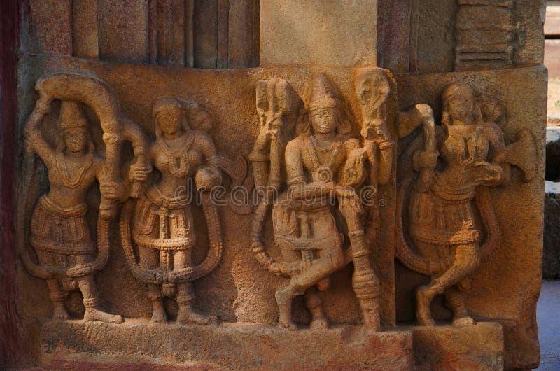 Carved figure, Ramappa Temple, Palampet, Warangal, Telangana royalty free stock images