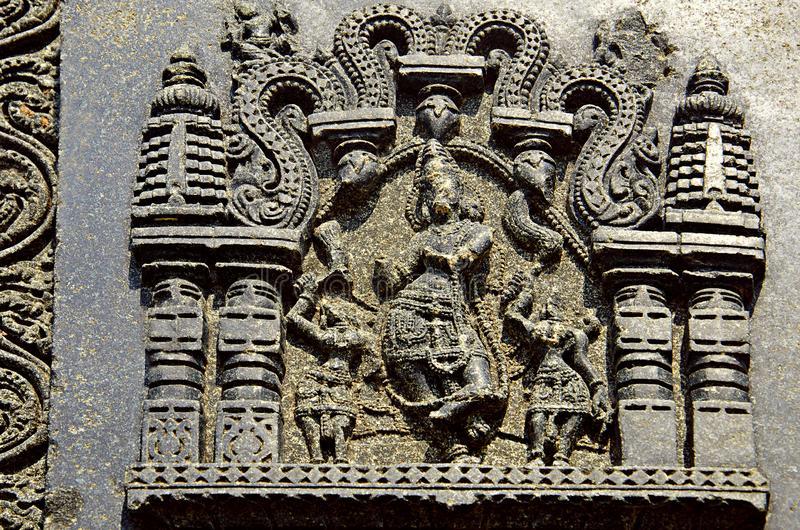 Carved figure, Temple complex, Warangal fort, Warangal, Telangana royalty free stock photos