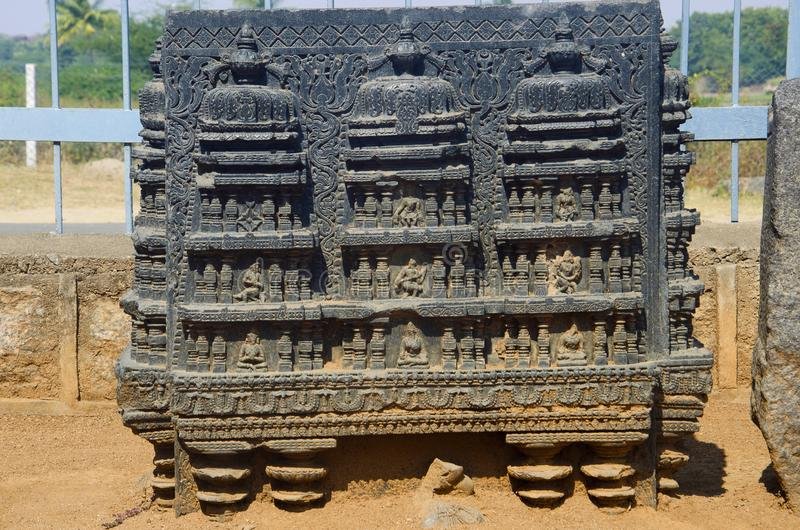 Carved figure, Temple complex, Warangal fort, Warangal, Telangana stock photography