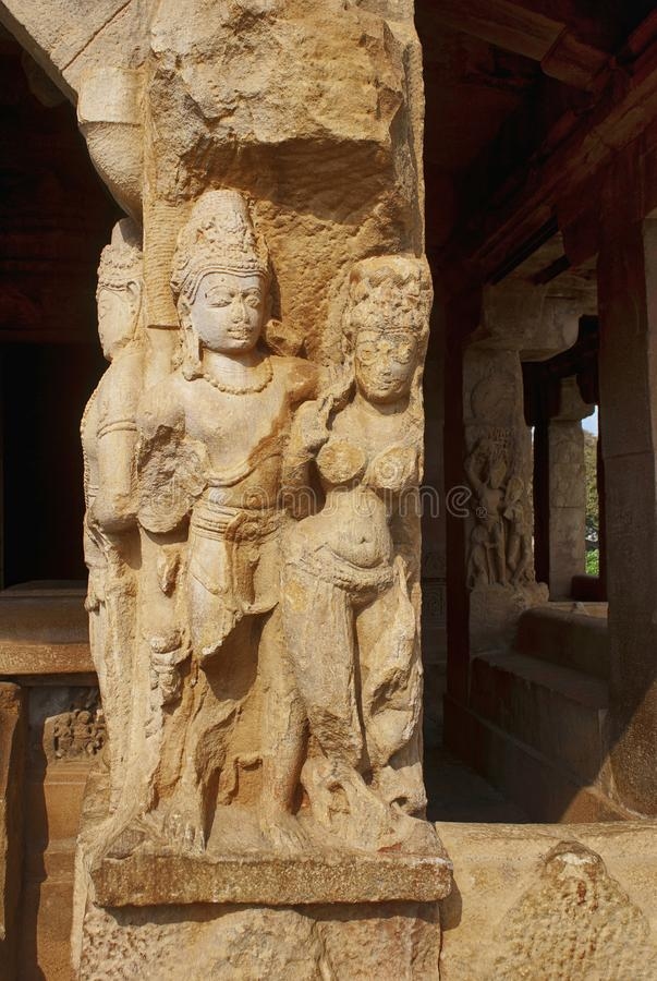 Carved figures on the sober and square pillars of the entrance porch of Durga temple, Aihole, Bagalkot, Karnataka. The Galaganatha royalty free stock images