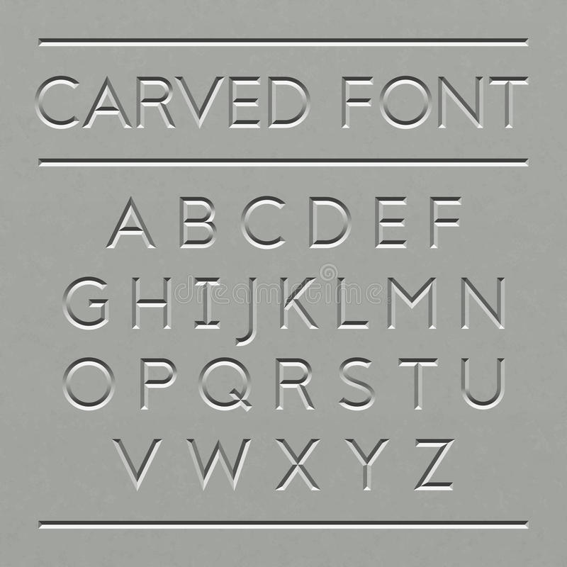 Carved font design. Set of carved letters illustration stock illustration