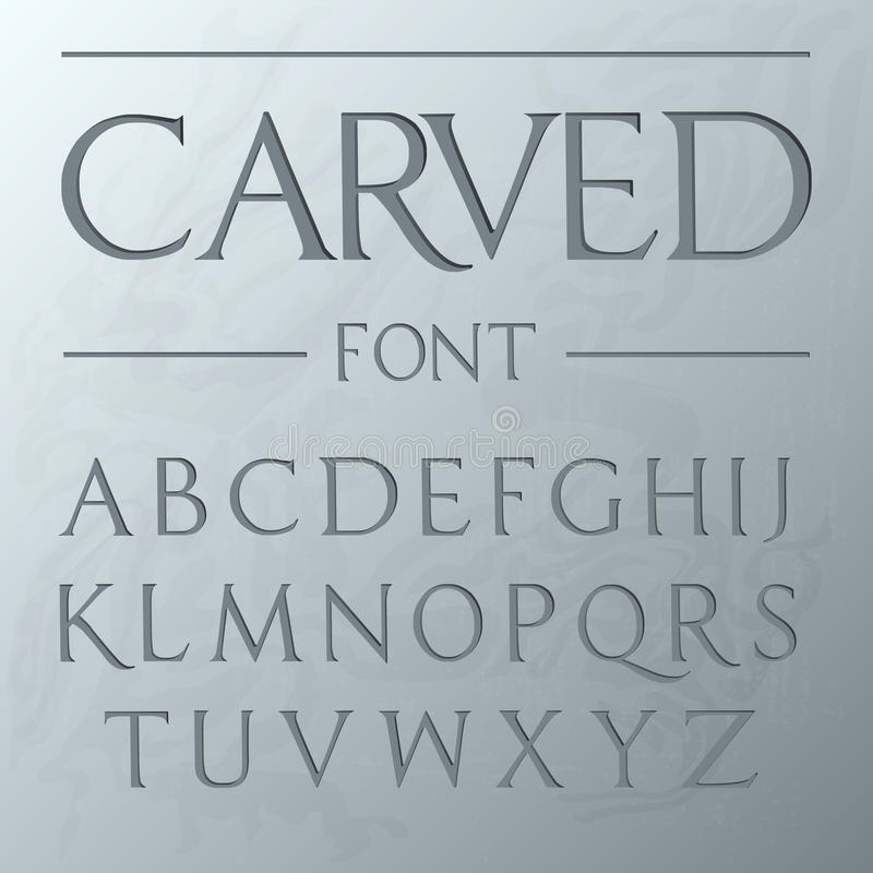 Download Carved Font Engraved On The Wall Modern Realistic Letters In Roman Style Serif