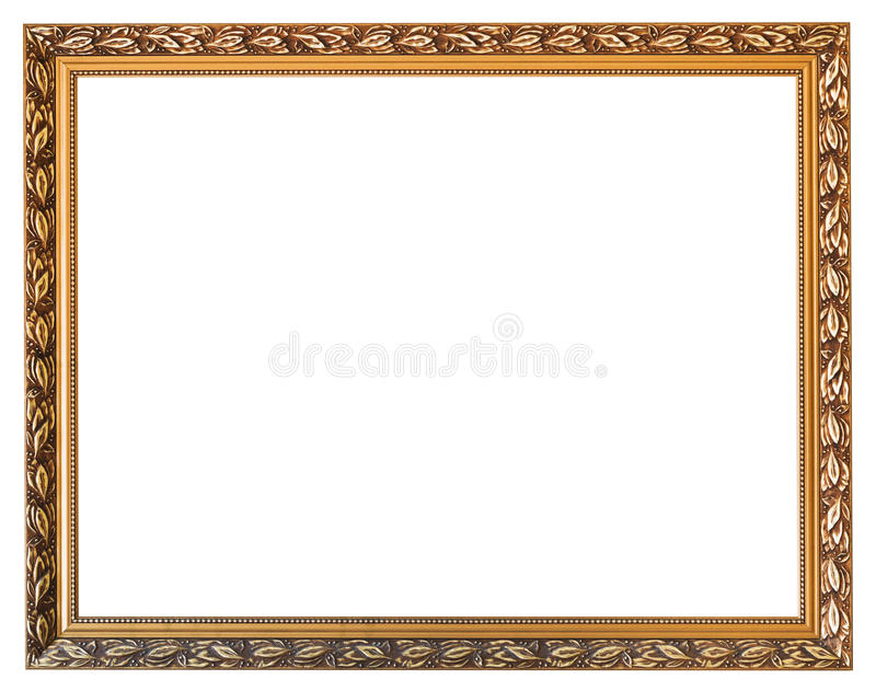 Carved golden wooden picture frame isolated royalty free stock image