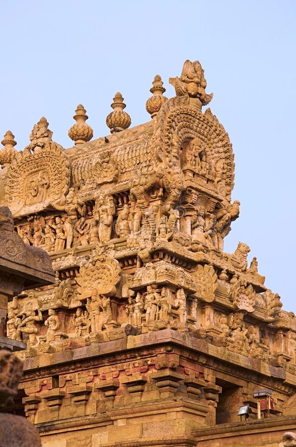 Carved Gopuram of Airavatesvara Temple, Darasuram, near Kumbakonam, Tamil Nadu, India. Carved Gopuram of Airavatesvara Temple, Darasuram. Hindu Shiva temple of stock image