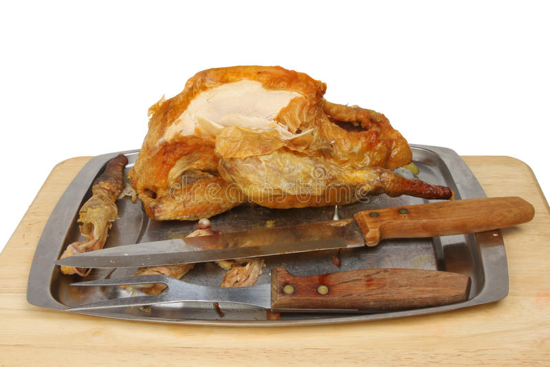 Carved Guinea fowl stock image