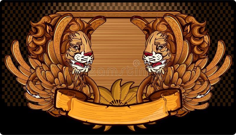 Carved ha traversato i leoni volando illustrazione di stock