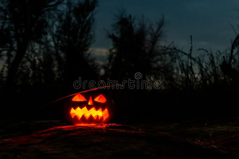 Carved halloween pumpkin jack-o-lantern wearing witch hat with burning candles glows in a darkness. Spooky landscape royalty free stock image