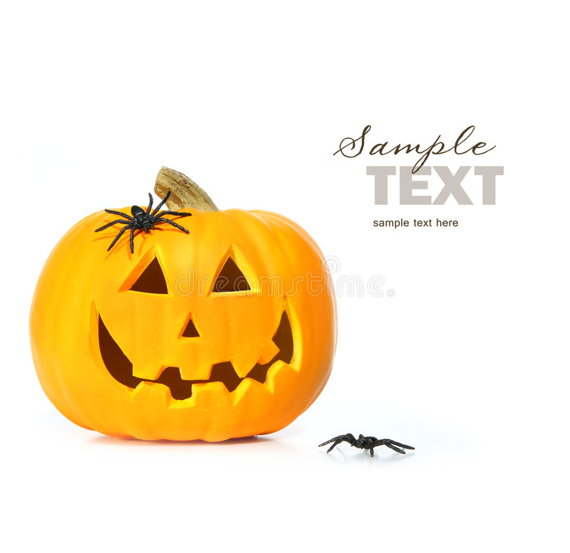 Carved halloween pumpkin with spiders royalty free stock photography