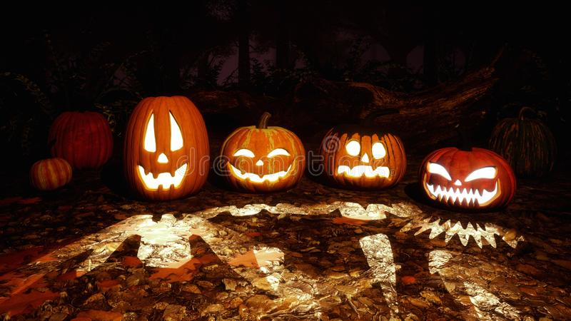 Carved halloween pumpkins in night autumn forest. Close up of various funny Jack-o-lantern carved halloween pumpkins on a ground covered by fallen autumn leaves stock image