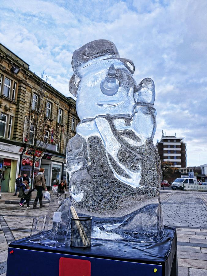 Carved Ice Sculptures in Burnley Town centre in Late November. These dramatic Sculptures decorate the town of Burnley in Lancashire England for one day before royalty free stock photography