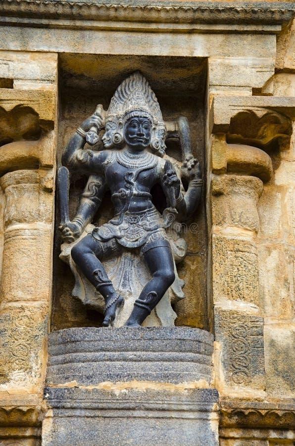 Carved idol on the inner wall of Airavatesvara Temple, Darasuram, near Kumbakonam, Tamil Nadu, India. Carved idol on the inner wall of Airavatesvara Temple stock image