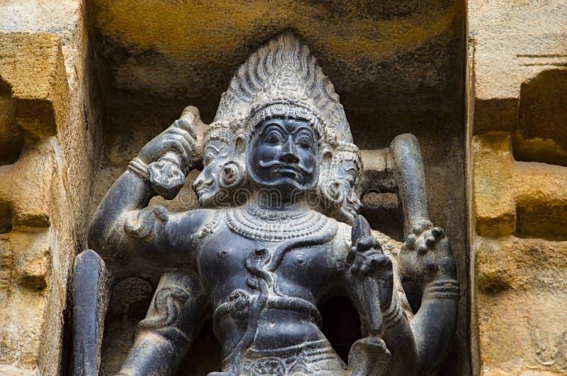 Carved idol on the inner wall of Airavatesvara Temple, Darasuram, near Kumbakonam, Tamil Nadu, India. Carved idol on the inner wall of Airavatesvara Temple stock photo