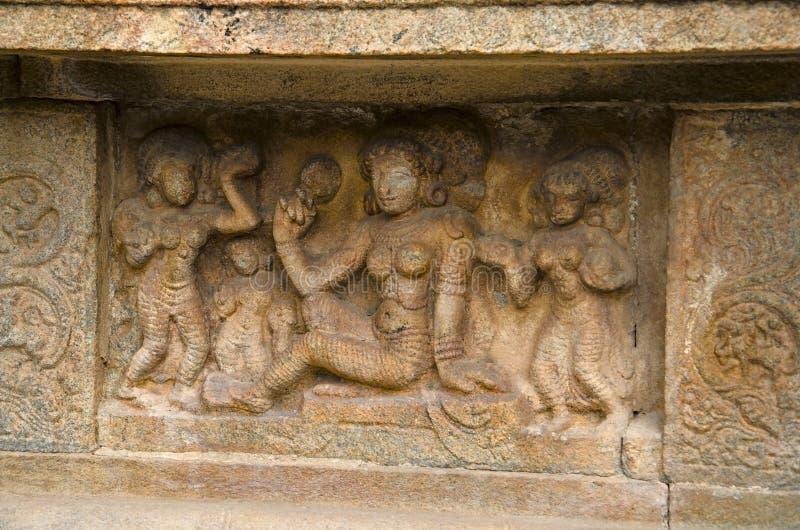 Carved idol on the inner wall of Airavatesvara Temple, Darasuram, near Kumbakonam, Tamil Nadu, India. Carved idol on the inner wall of Airavatesvara Temple stock photography
