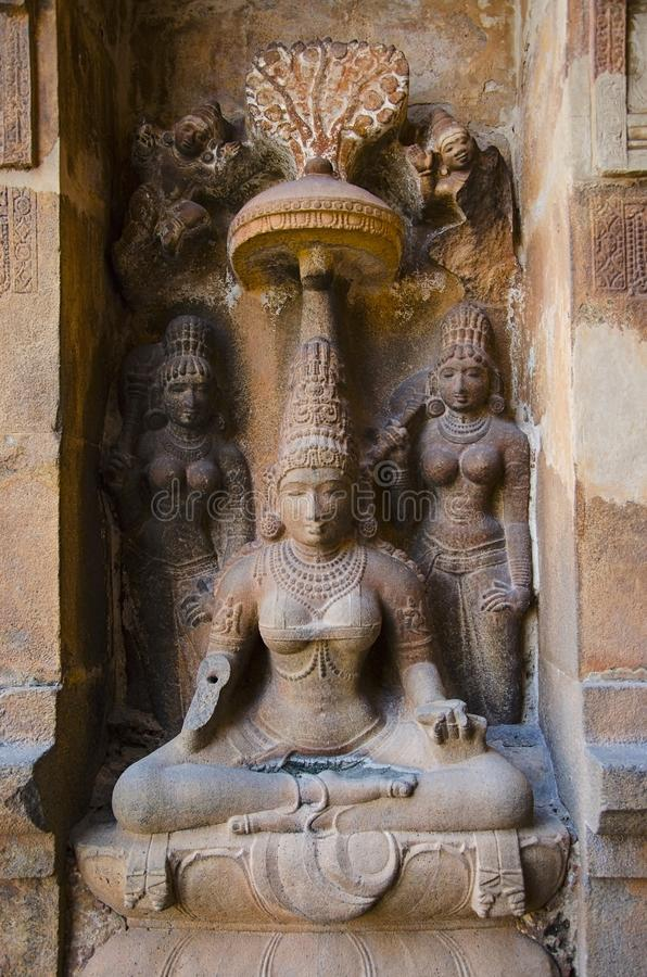 Carved stone idol on the outer wall of the Brihadishvara Temple, Thanjavur, Tamil Nadu, India. Carved idol on outer wall of the Brihadishvara Temple, Thanjavur stock photo