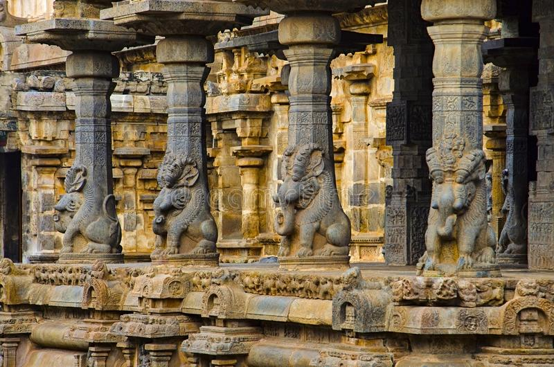 Carved idols on the inner wall of Airavatesvara Temple, Darasuram, near Kumbakonam, Tamil Nadu, India. Carved idols on the inner wall of Airavatesvara Temple royalty free stock photo