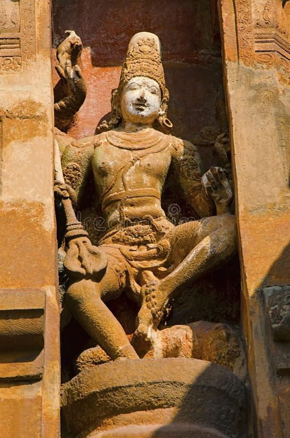 Carved idols on the outer wall of the Brihadishvara Temple, Thanjavur, Tamil Nadu, India. Carved idol on the inner wall of the Brihadishvara Temple, Thanjavur stock images
