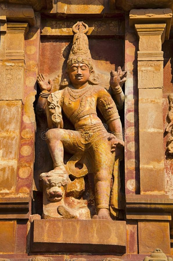 Carved idols on the outer wall of the Brihadishvara Temple, Thanjavur, Tamil Nadu, India. Carved idol on the inner wall of the Brihadishvara Temple, Thanjavur stock photos