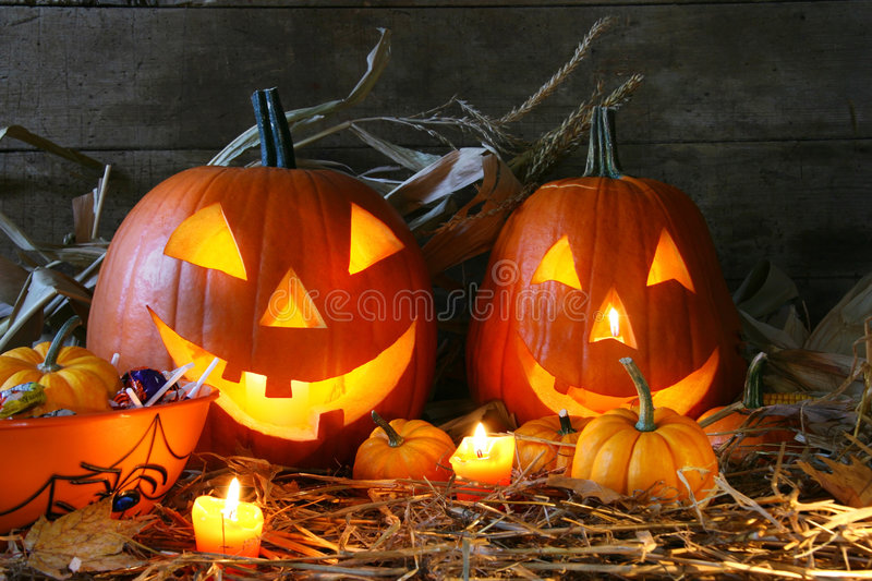 Carved jack-o-lanterns royalty free stock photography