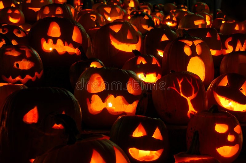 Carved Lighted Pumpkins royalty free stock photo