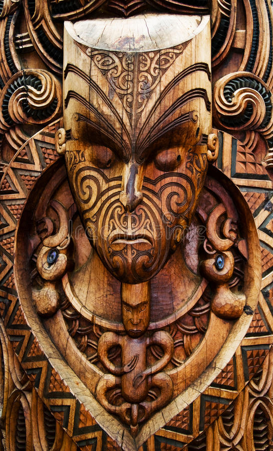 Ancient Maori Culture: Carved Maori Board Stock Image. Image Of Puia, Plate