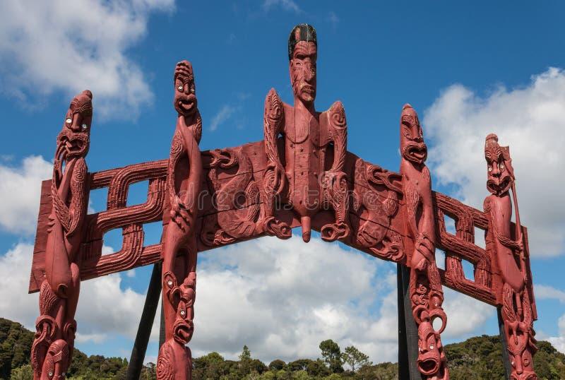 Carved Maori totem in Paihia stock photo