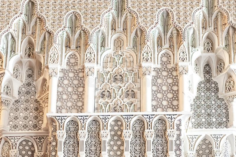 Geometric patterns in marble: Details King Hassan II Mosque, Casablanca, Morocco royalty free stock photos
