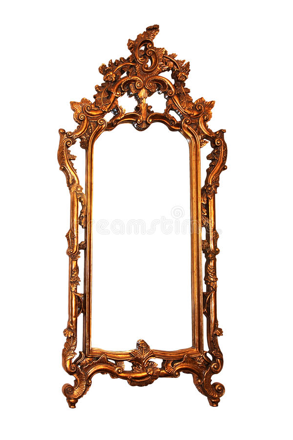 Carved mirror frame. Isolated included clipping path stock photography