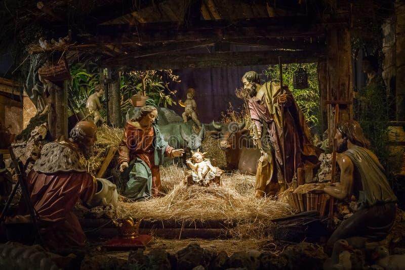 Carved nativity scene stock photography