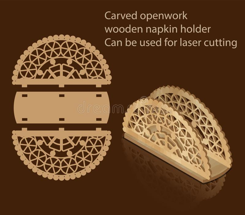 Carved openwork wooden napkin holder, can be used for laser cutting. Decor royalty free illustration