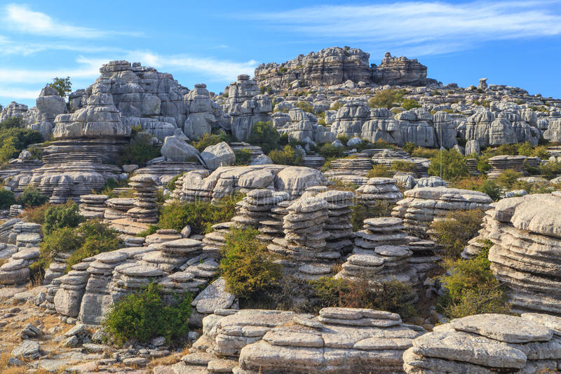 Carved out rock formations. Rock formations carved out by water and erosion, in the El Torcal de Antequera nature reserve in Andalusia, Spain royalty free stock photo
