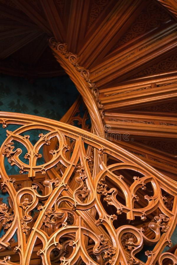 Download Carved Pattern Of An Old Wooden Stairway Stock Image - Image: 25880035