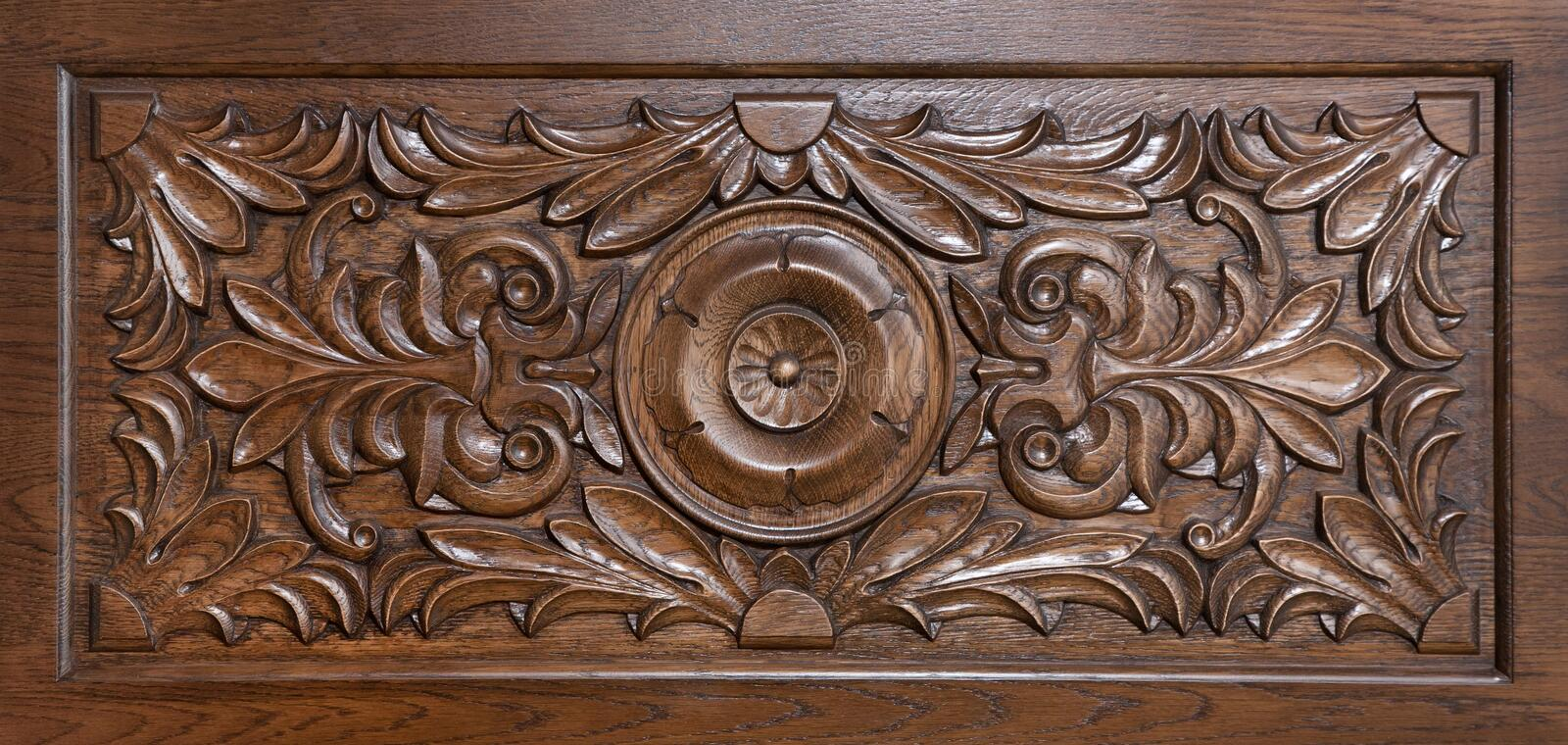 Carved pattern on wood. Element of decor royalty free stock photo