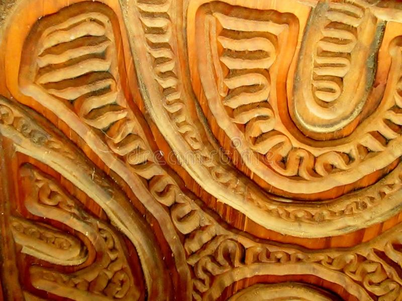 Carved Patterns In A Wooden Panel. stock photos