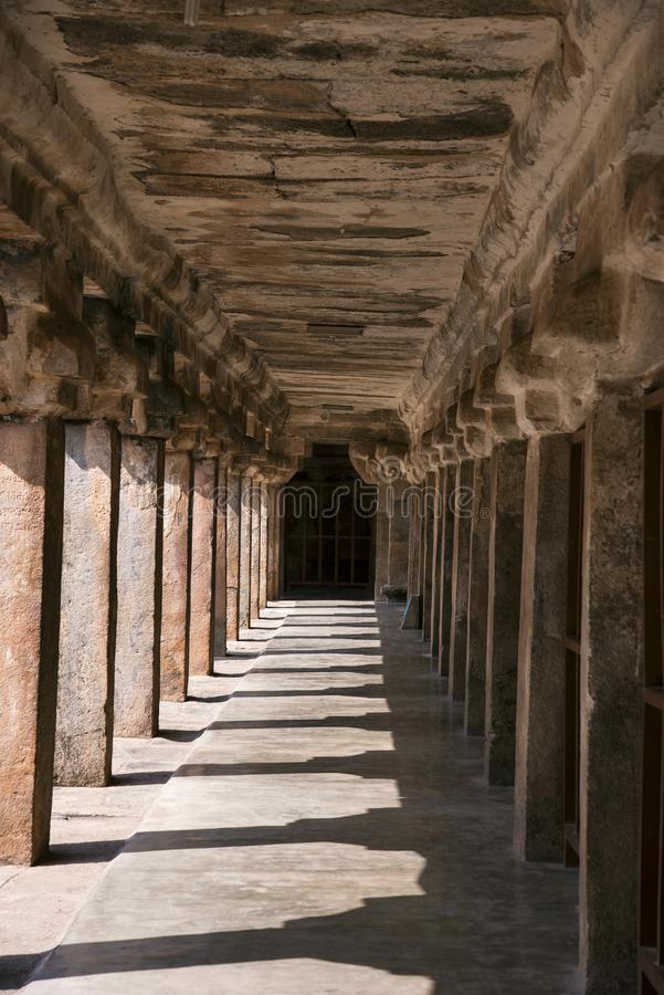 Carved pillars inside the Brihadishvara Temple, an UNESCO World Heritage Site , Thanjavur, Tamil Nadu, India. Carved pillars Brihadishvara Temple, UNESCO World royalty free stock images