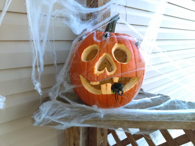 Carved pumpkin royalty free stock photography
