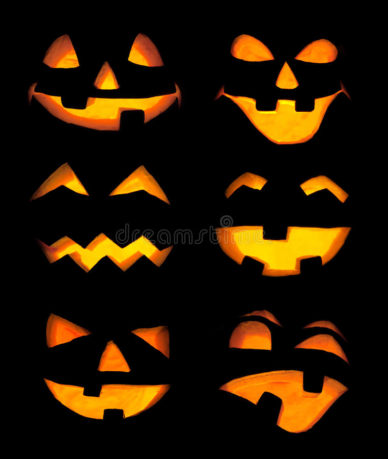 Carved Pumpkin Faces royalty free stock image