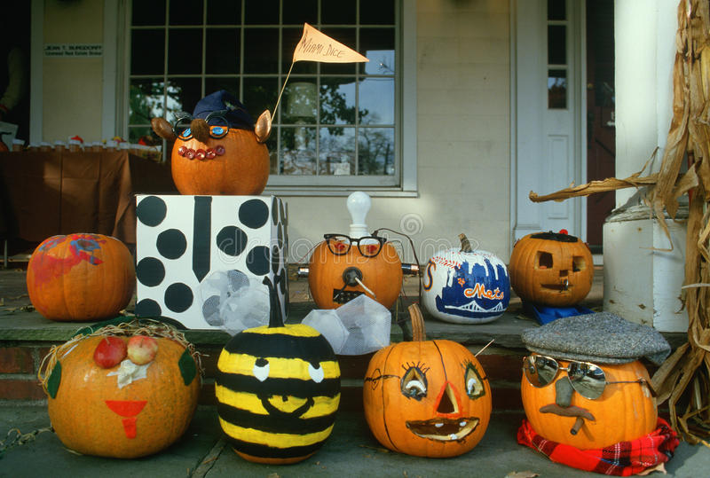Carved Pumpkins on Porch, Basking Ridge, New Jersey stock photos