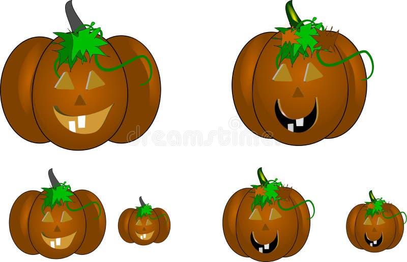 Carved pumpkins on white