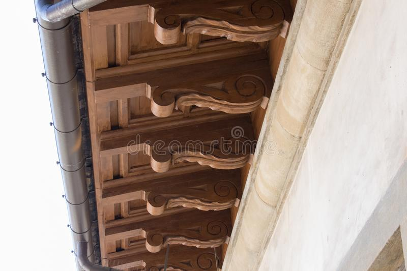 Carved roof fragment, Palazzo Vecchio, Florence, Italy. royalty free stock photos