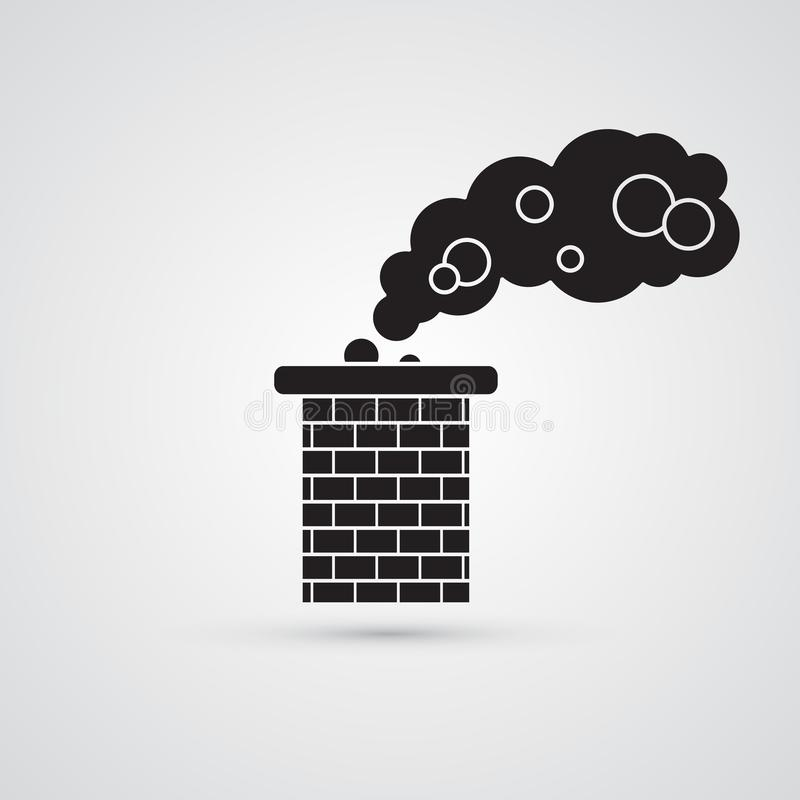 Carved silhouette flat icon, simple vector design. Brick chimney. Pipe with cloud of smoke for illustration of house`s part, heating method, roof, factory and stock illustration
