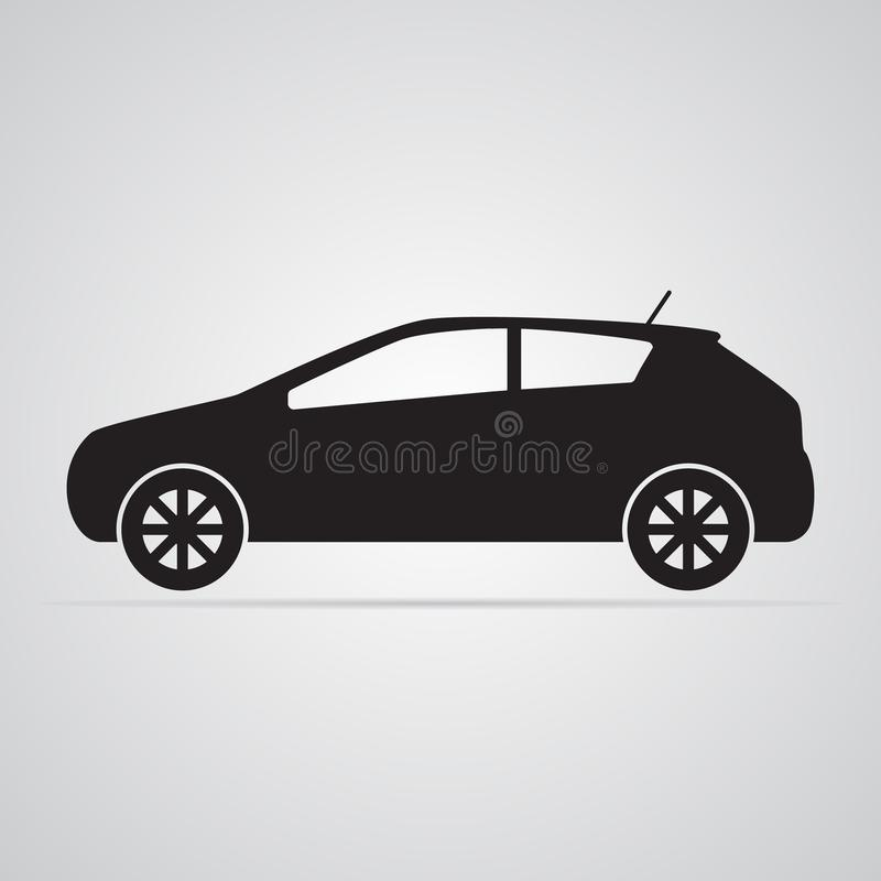 Carved silhouette flat icon, simple vector design. Car in profile. For illustration of transport, car dealers and passenger transport. Symbol of body type royalty free illustration