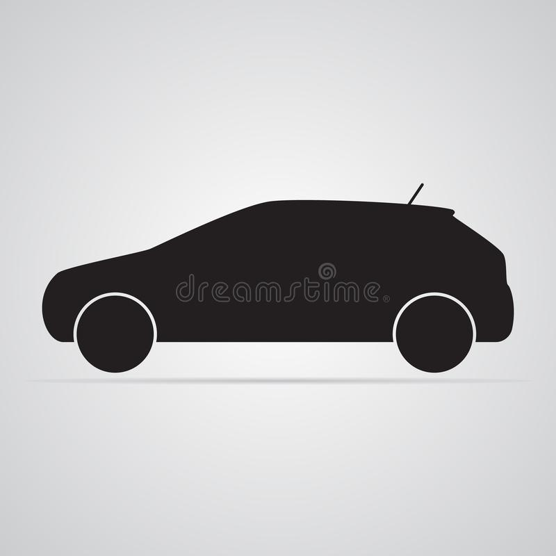 Carved silhouette flat icon, simple vector design. Car in profile. For illustration of transport, car dealers and passenger transport. Symbol of body type vector illustration